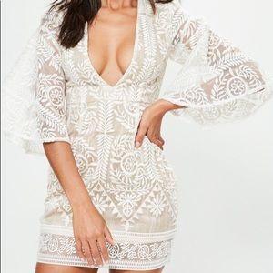 Missguided Nude Kimono Lace Bodycon Dress US Sz 4